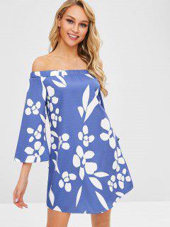 Off Shoulder Floral Print Shift Dress - Sky Blue S