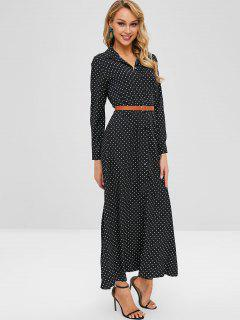 Button Up Polka Dot Belted Maxi Dress - Black S