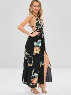 Backless Floral Print Maxi Cami Dress - Black L