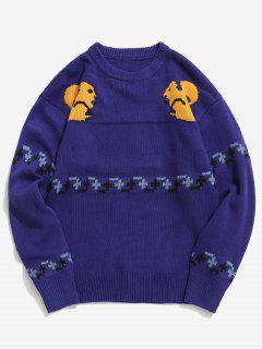 Squirrel Pattern Knit Sweater - Blue M