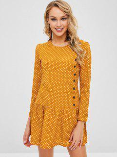 Mini Polka Dot Flounce Dress - Bee Yellow M
