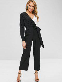 Two Tone Knotted Wide Leg Jumpsuit - Black L