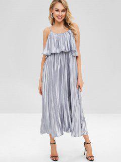 Shiny Pleated Overlay Cami Dress - Silver M
