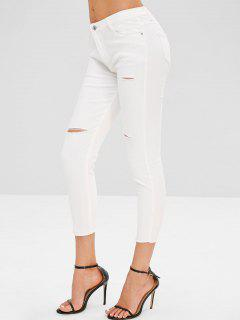 Distressed Colored Jeans - White L