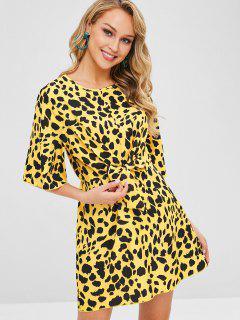 Tie Front Leopard Print Mini Dress - Yellow L