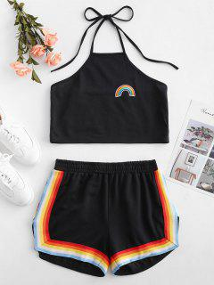 Rainbow Patched Striped Halter Shorts Set - Black M