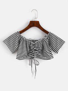 Off Shoulder Cinched Striped Tee - Black L