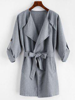 Plain Draped Belted Coat - Gray Xl