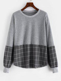 Drop Shoulder Loose Checkered Sweatshirt - Gray L
