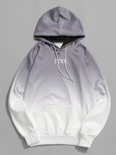 Letter Ombre Print Pouch Pocket Hoodie - Gray S