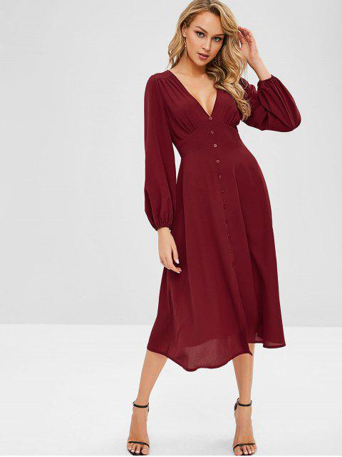 new ZAFUL Plunge A Line Long Sleeve Dress - RED WINE S Mobile