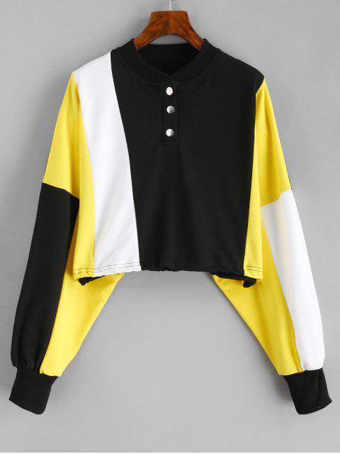 chic Color Block Drawcord Cropped Sweatshirt - BLACK L Mobile