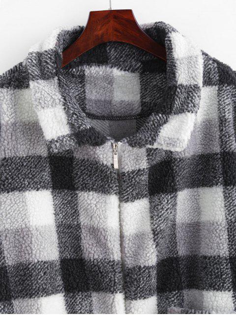 ZAFUL Manteau d'Hiver Teddy Fourré Zippée à Carreaux - Noir S Mobile