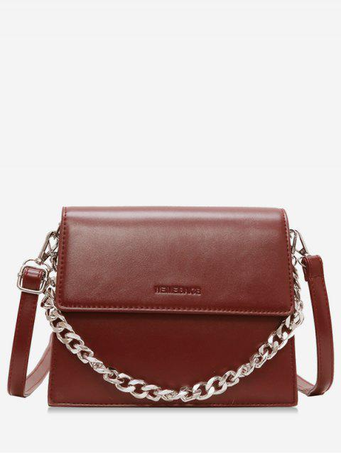 women's Chain Decorative Flap Corssbody Bag - RED WINE  Mobile