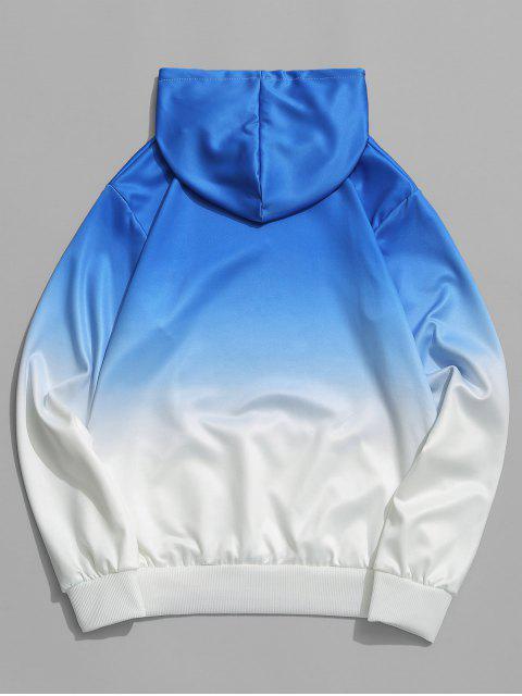 Sweat à Capuche Lettre Ombré Imprimé avec Poche Jointive - Bleu XS Mobile