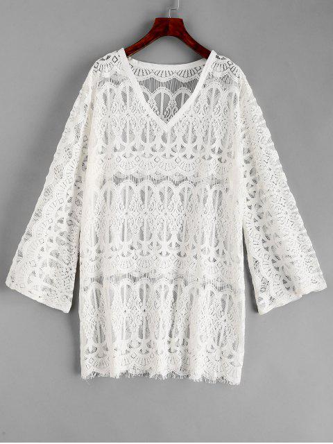 unique Lace Cover-up Dress - WHITE ONE SIZE Mobile