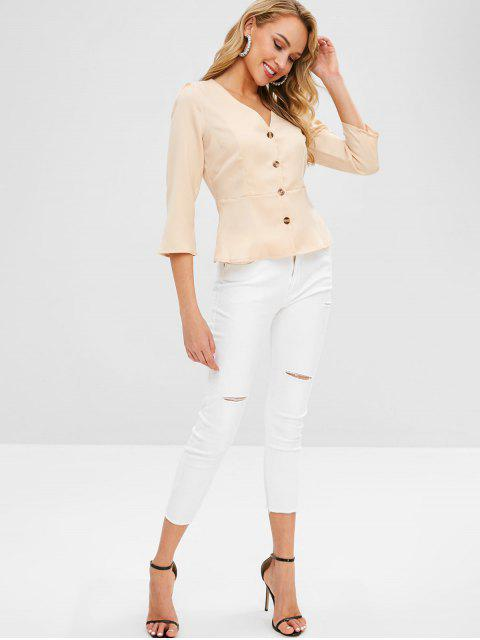 women ZAFUL Plunge Button Fly Peplum Blouse - BLANCHED ALMOND L Mobile