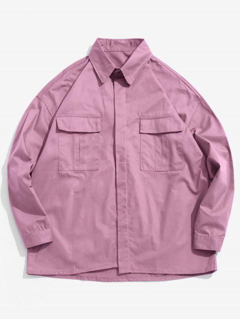 trendy Chest Pockets Loose Jacket - PINK CUPCAKE 2XL Mobile