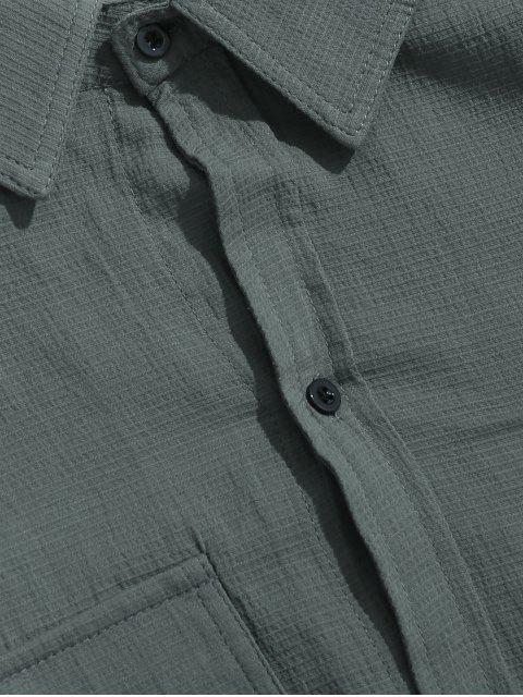 Veste Boutonnée avec Poche Poitrine - Bleu-gris 2XL Mobile