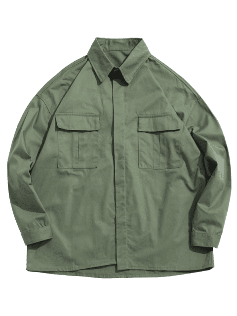 women Chest Pockets Loose Jacket - ARMY GREEN L Mobile