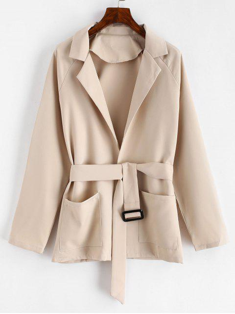 latest Belted Lapel Coat with Pockets - TAN 2XL Mobile