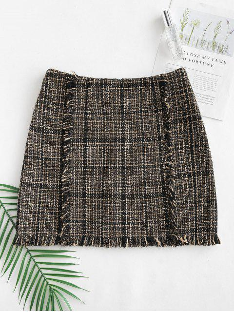 latest Fringed Tweed Skirt - MULTI-B L Mobile