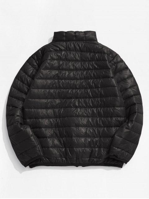women Solid Padded Lightweight Jacket - BLACK EEL S Mobile