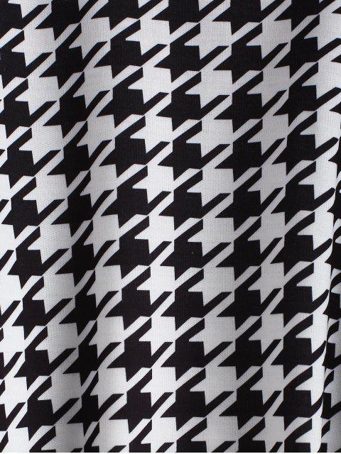 outfit Drop Shoulder Houndstooth Crop Sweatshirt - BLACK M Mobile