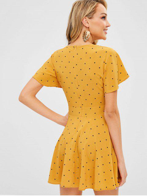 women ZAFUL Plunge Polka Dot A Line Dress - BEE YELLOW XL Mobile