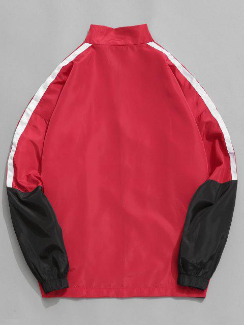 fashion Graphic Side Striped Windbreaker Jacket - RED 2XL Mobile