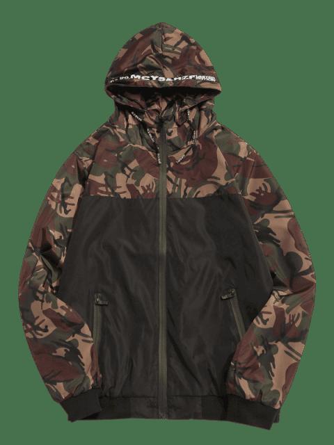 best Camo Hooded Windbreaker Jacket - ARMY GREEN M Mobile