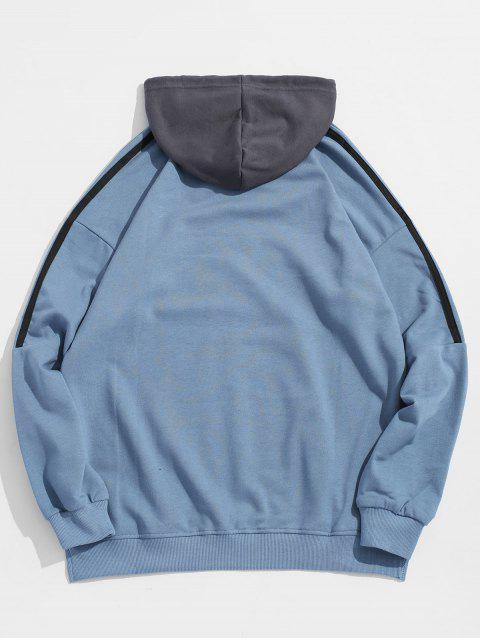 hot Contrast Stripe Chest Embroidery Letter Hoodie - BLUE 3XL Mobile