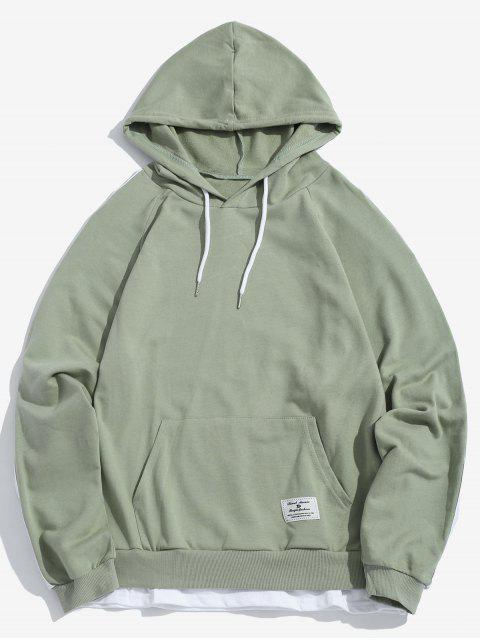 shops Two Tone Double Hem Stripe Hoodie - GREEN PEAS L Mobile