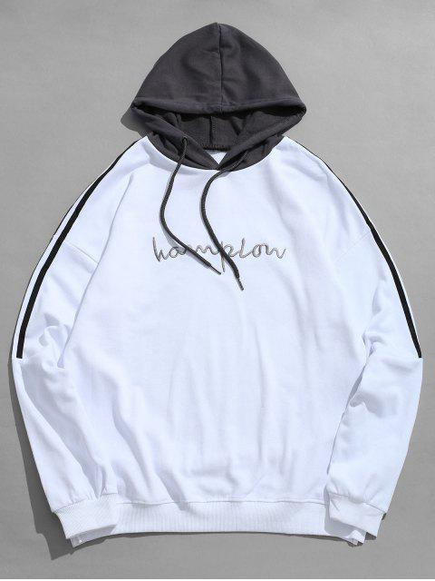 affordable Contrast Stripe Chest Embroidery Letter Hoodie - WHITE M Mobile
