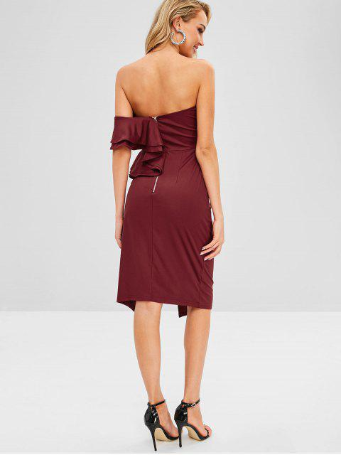 latest Ruffles Off Shoulder Slit Fitted Dress - RED WINE L Mobile