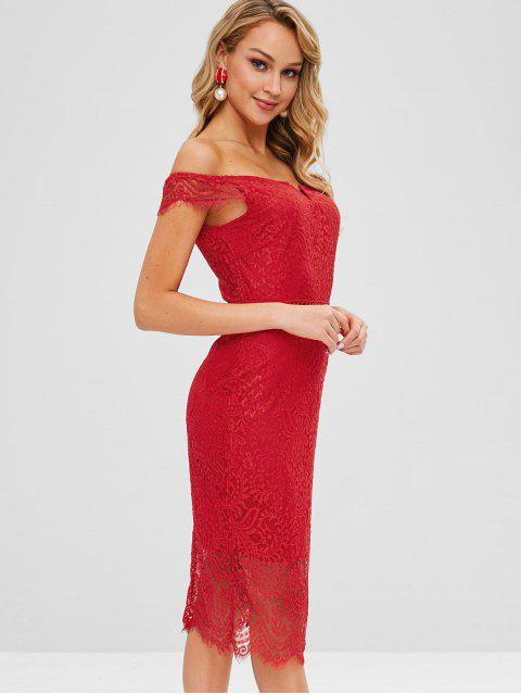 fashion Off Shoulder Bodycon Lace Dress - RED L Mobile