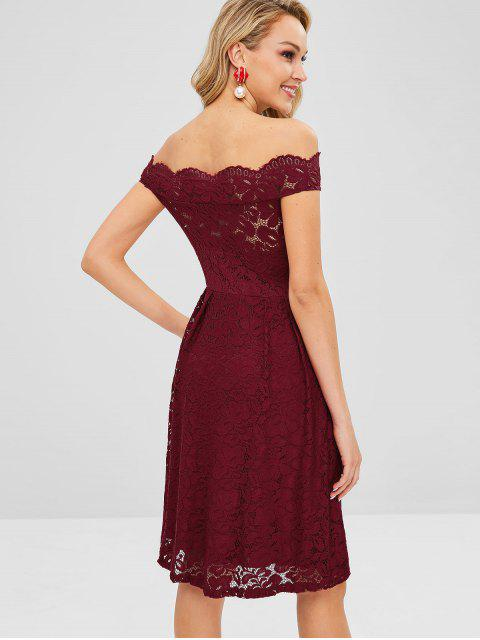 affordable Off Shoulder Scalloped Lace Dress - RED WINE S Mobile