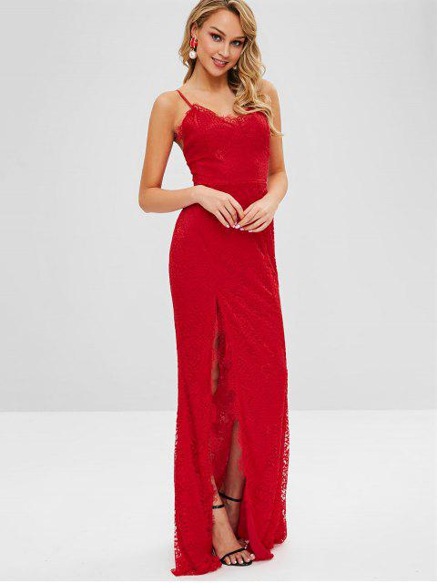 fashion High Slit Spaghetti Strap Lace Dress - RED M Mobile