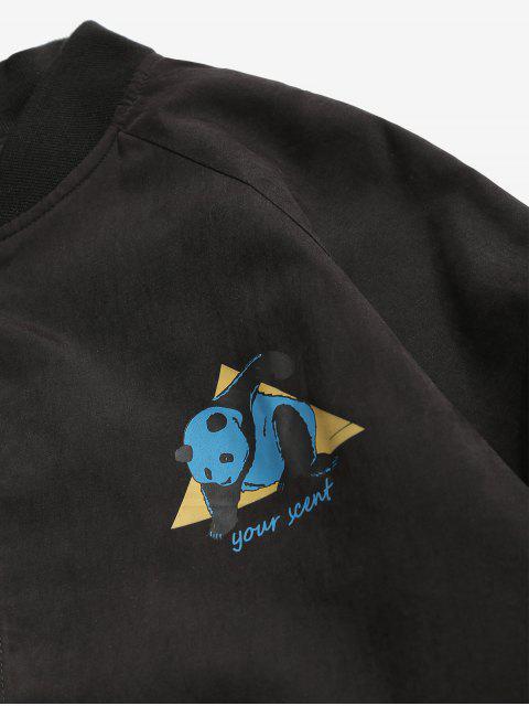 womens Panda Graphic Bomber Jacket - BLACK 2XL Mobile