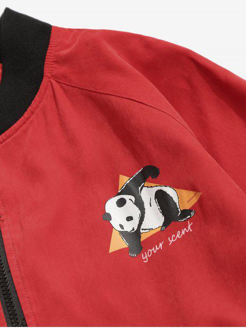 latest Panda Graphic Bomber Jacket - RED L Mobile