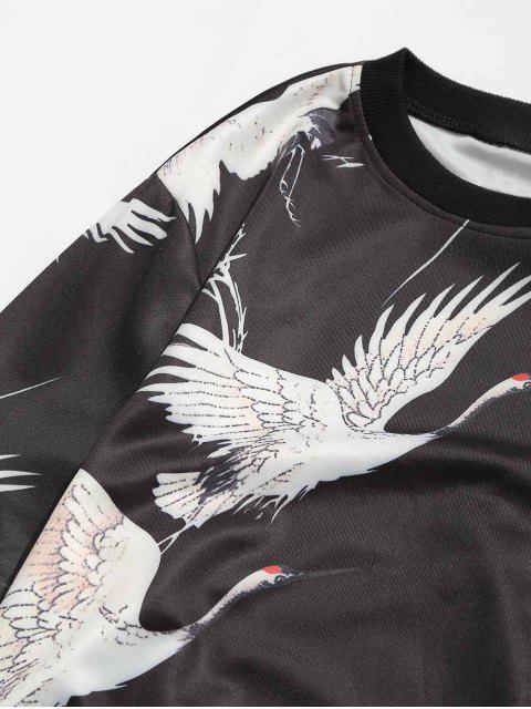 fancy Crew Neck Birds Graphic Sweatshirt - BLACK 4XL Mobile