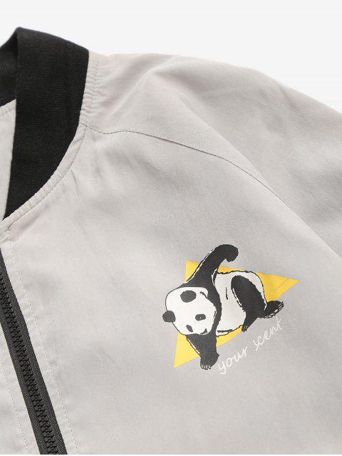women's Panda Graphic Bomber Jacket - LIGHT GRAY M Mobile