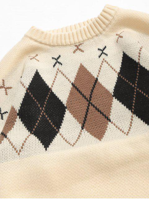 outfits Plaid Pattern Loose Knit Sweater - APRICOT L Mobile