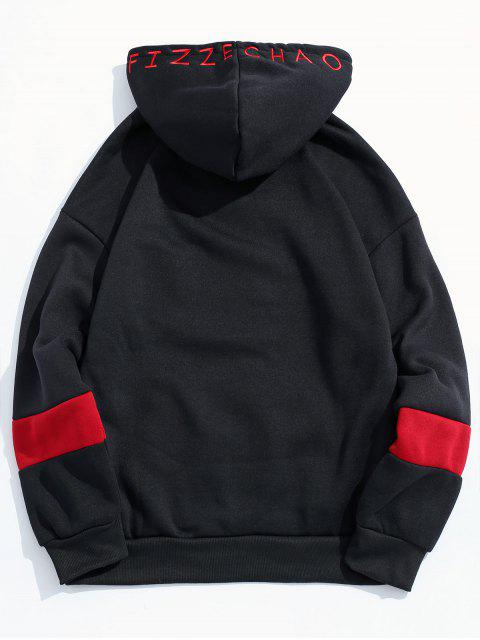 shops Letter Embroidery Contrast Fleece Hoodie - BLACK XS Mobile