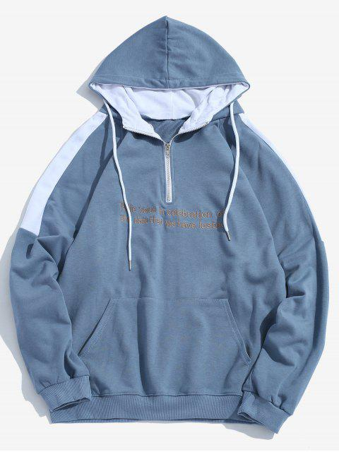 ladies Contrast Sentence Embroidery Hoodie - BLUE L Mobile