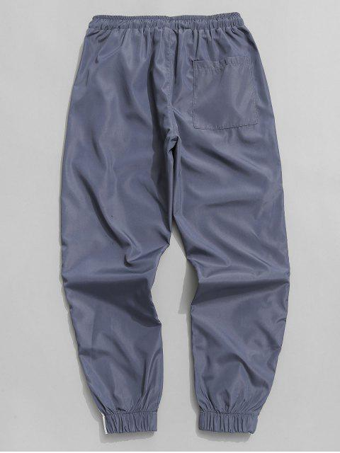 fashion Side Stripe Drawstring Jogger Pants - BLUE GRAY S Mobile