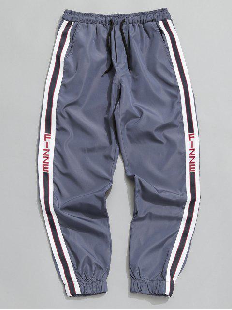 fancy Side Stripe Drawstring Jogger Pants - BLUE GRAY XS Mobile