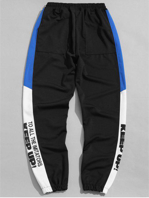 Pantalon de jogging graphique avec lettres latérales - Noir XL Mobile