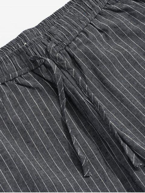 outfits Stripe Casual Drawstring Pants - DARK SLATE GREY M Mobile