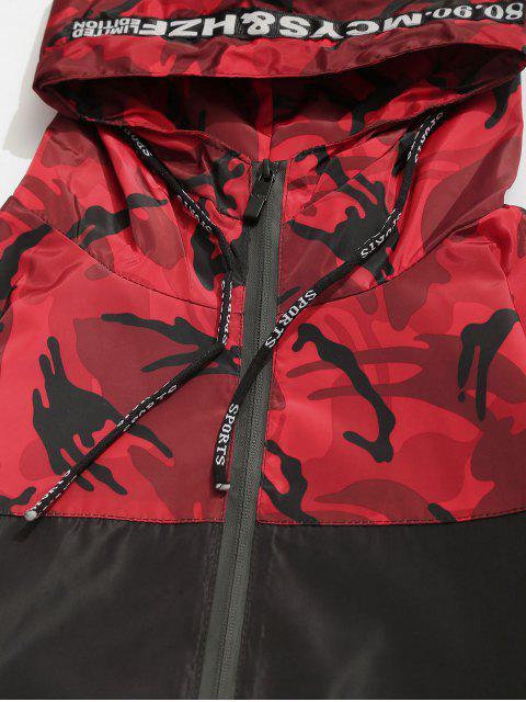 best Camo Hooded Windbreaker Jacket - RED S Mobile
